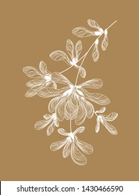 Beautiful white pattern of maple lionfish. Ethnic floral motif made from natural elements. Author's eco design