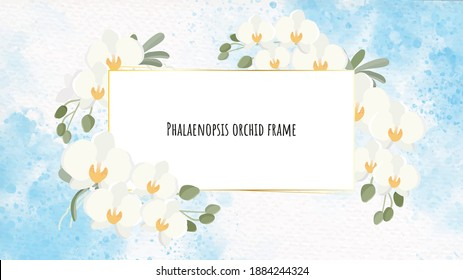 beautiful white Phalaenopsis orchid wreath with golden frame on blue watercolor splash background