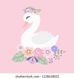 Beautiful white romantic dreaming swan and floral flowers bouquet