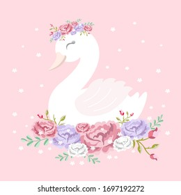 Beautiful white romantic dreaming swan princess with crown and floral flowers