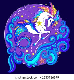 Beautiful white sea unicorn among the waves. On a purple background. Hippocampus. For design of prints, posters, tattoos, etc. Vector illustration