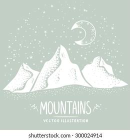 Beautiful white silhouette mountains at night. Stylish vector illustration