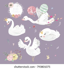Beautiful white swan (goose, duck) with crown, flowers and balloons collection, set