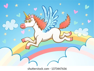 Beautiful white unicorn with long hair and blue wings smiling and staring at you while flying among clouds. There's a colorful rainbow, yellow stars, hearts in various colors and a blue sky behind it