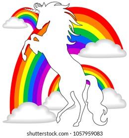 Beautiful white Unicorn Silhouette rearing up on Rainbows Background Vector illustration
