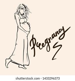 Beautiful white woman pregnant illustration . Sketch