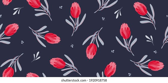 Beautiful wild blooming tulips seamless pattern in hand drawn  style on black background. Floral botanical background. Fabric wallpaper print texture with flowers. Vector illustration EPS10
