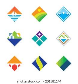 Beautiful wild landscape logo square window view simple icon set