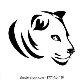 beautiful wild lioness profile head portrait - black and white vector outline design