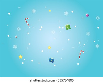 Beautiful winter background with candy snowflakes gifts and decorations. Blue winter background.