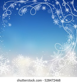 Beautiful winter background with snowflakes and swirls.