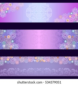 Beautiful winter background with snowflakes.Vector set of 3 -  horizontal banners.