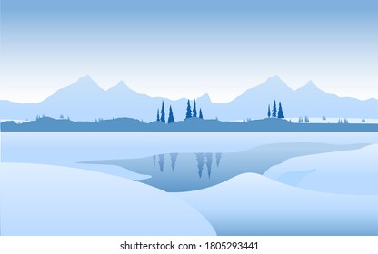 beautiful winter landscape with lake and snow trees and mountains