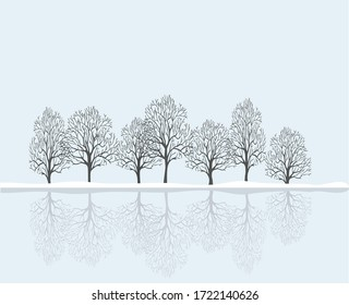 Beautiful winter landscape a row of trees are reflected in the water.Vector illustration.