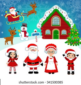 Beautiful winter landscape Santa's house. Santa and friends.Vector Illustration.