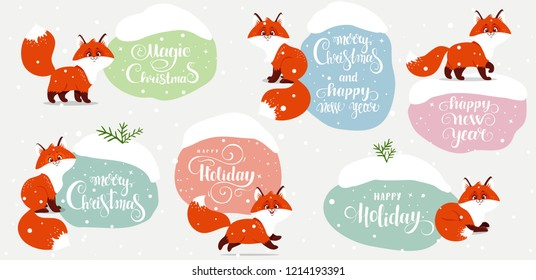 Beautiful winter sticker with funny cartoon foxes. Christmas and new year greeting card for your design. Vector illustration