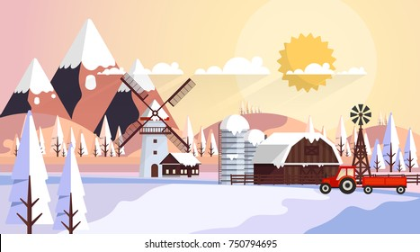Beautiful Winter Vector Landscape, Countryside in Winter with Wooden Barn. Illustration