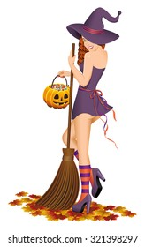 Beautiful witch with a broom. Halloween concept. Isolated on white background.Vector illustration.