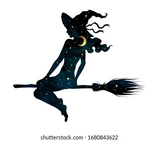 Beautiful witch girl silhouette on a broom with crescent moon and stars in profile isolated hand drawn vector illustration