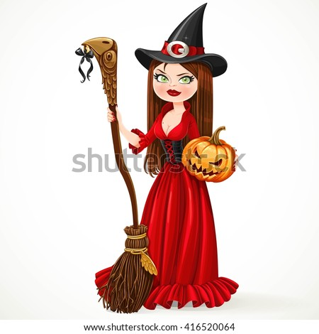 Beautiful witch in a red dress holding a broom for flying and a pumpkin isolated on a white background