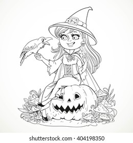Beautiful witch sitting on a pumpkin and talks to the black raven outlined for coloring book isolated on white background