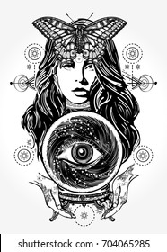 Beautiful witch woman t-shirt design. Magic woman tattoo art. Fortune teller, crystal ball, mystic and magic. Occult symbol of the fate predictions
