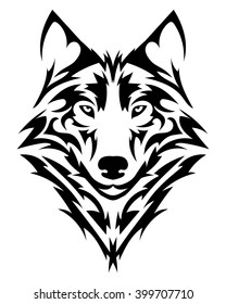 52580ca7f Beautiful wolf tattoo.Vector wolf's head as a design element on isolated  background