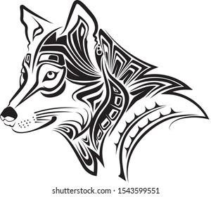 beautiful wolf tribal logo black and white