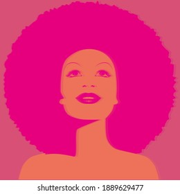 Beautiful woman with afro style curly hair, acid colors. Hologram simulation. Poster music soul, funk or disco style 60s or 70s