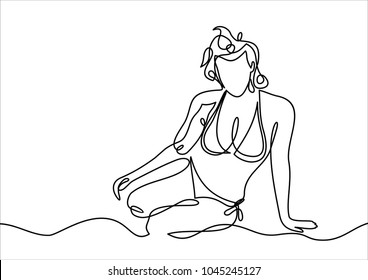 Beautiful woman in bikini sunbathing at the seaside-continuous line drawing