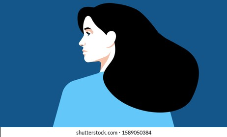 Beautiful woman in blue clothes on a blue background. Brunette. The girl is looking to the left. Vector illustration of a female face, portrait.