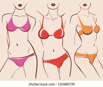 beautiful woman bodies in bikini vector illustration eps 10