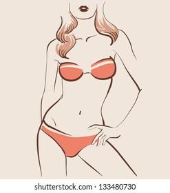 beautiful woman body in bikini vector illustration eps 10