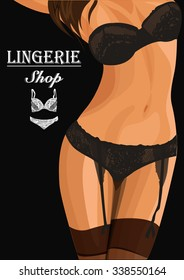 Beautiful woman body in lingerie vector illustration