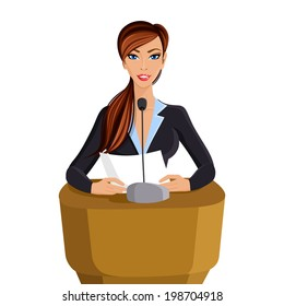 Beautiful woman in business suit with paper conference portrait isolated on white background vector illustration