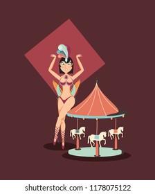 beautiful woman carousel fun fair circus carnival