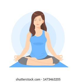 Beautiful woman cartoon meditate or do yoga pose use for vector illustration