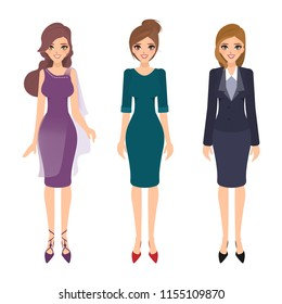 Beautiful woman character design. Business people style. Cartoon illustration vector.