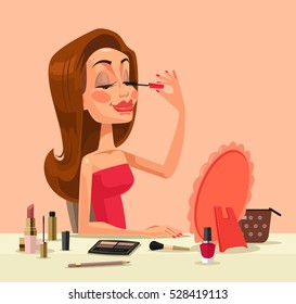 Beautiful woman character doing make up. Vector flat cartoon illustration