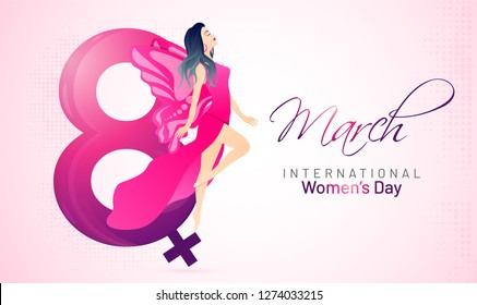 Beautiful woman character with lettering of 8 march on glossy pink background for International Women's Day celebration banner.
