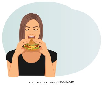 Beautiful woman with closed eyes is eating a cheeseburger. Fastfood.