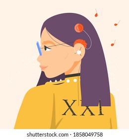 Beautiful woman with cochlear implant hearing aid. Flat vector illustration.
