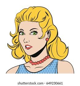 beautiful woman in the comics style.