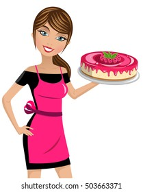 Beautiful woman cook holding cheesecake with raspberries isolated