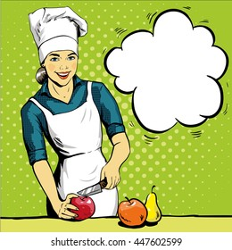 Beautiful woman cooking. Vector illustration in retro pop art style. Female chef in uniform. Restaurant concept.