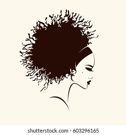 Beautiful woman with curly hair and mole on cheek. Vector art portrait. African hairstyle.