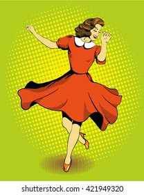 Beautiful woman dancing. Vector illustration in comics retro pop art style.