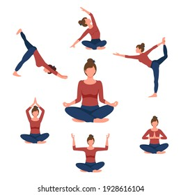 Beautiful woman doing yoga exercises. Set of seven yoga poses for easy yoga at home. Set for sport at home. Vector illustration of a beautiful cartoon woman in various yoga poses