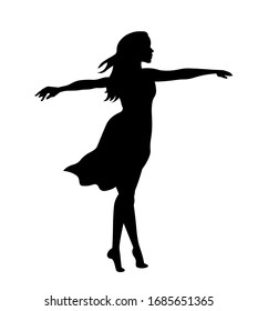 Beautiful woman in dress  silhouette vecor illustration.  Young girl isolated on white background.