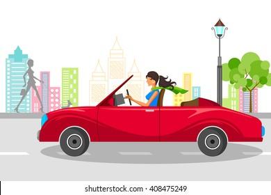 Beautiful woman driving car. Vector illustration
